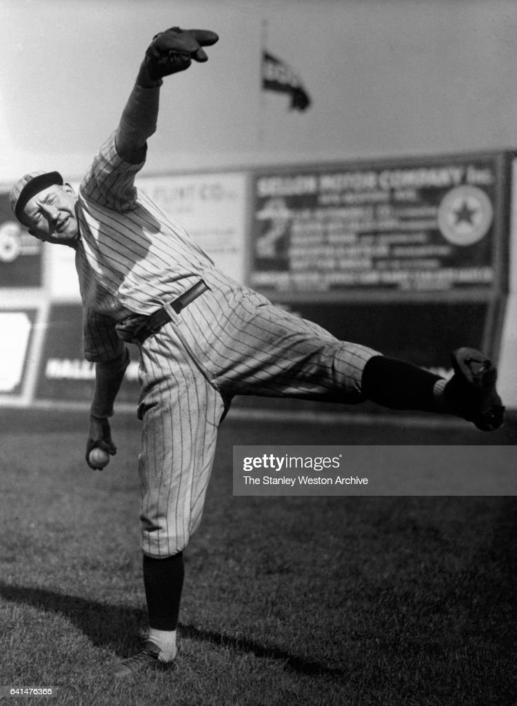 Dazzy Vance, pitcher for the Brooklyn Dodgers, in a pitching stance, circa 1900.