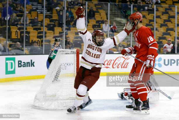 dBoston College Eagles forward Graham McPhee reacts to the first goal of the game during a Hockey East semifinal between the Boston College Eagles...