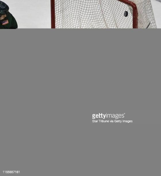 Dbrewster@startribune.com Sunday_3/11/07_Mpls GOPHER HOCKEY vs. ALASKA ANCHORAGE SEAWOLVES Alaska's goalie Nathan Lawson deflects Gopher Ryan Flynn's...