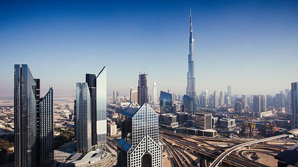 Dbuai Sky Line With Traffic Junction And Burj Khalifa Wall Art
