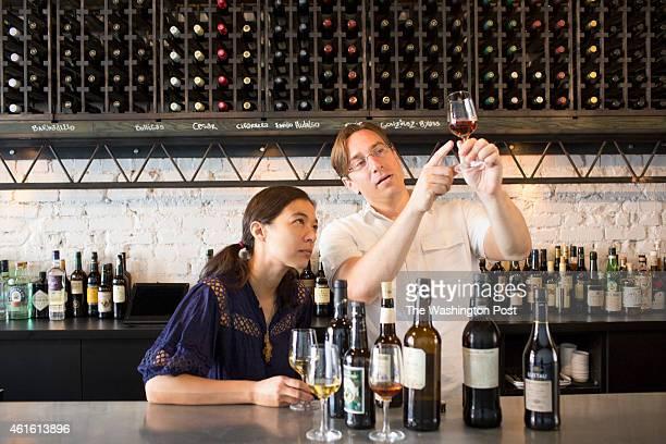 Chantal and Derek Brown at their sherry bar Mockingbird Hill in Washington DC
