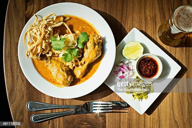 The curry with chicken legs noodles and sour cabbage at Soi 38 Restaurant in Washington DC