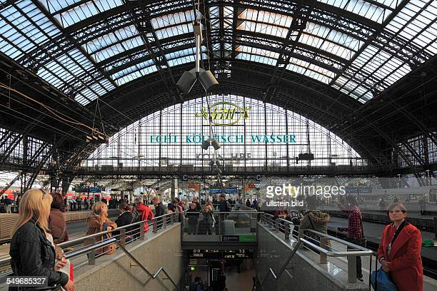 DCologne North RhineWestphalia NRW Cologne Central Station Deutsche Bahn German Railways station concourse train shed rail train people railway...