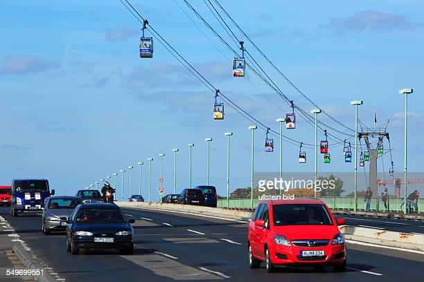 Cologne, Rhine, Rhineland, North Rhine-Westphalia, NRW, Rheinpark, Rhine park, Rheinseilbahn, Cologne Cable Car between Cologne-Riehl and...
