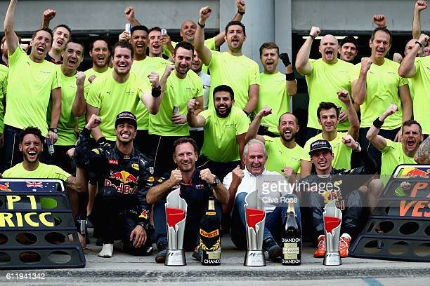 dDaniel Ricciardo of Australia and Red Bull Racing celebrates his win with Red Bull Racing Team Principal Christian Horner Red Bull Racing Team...