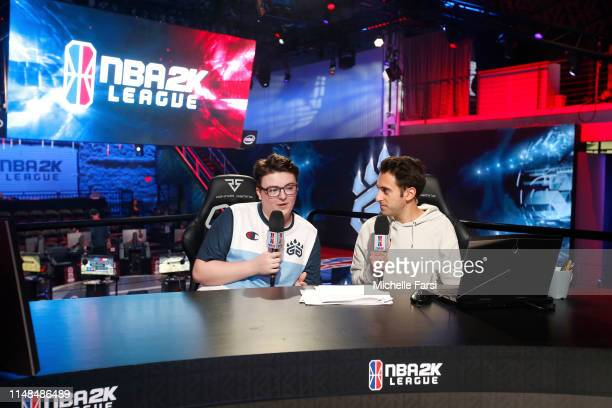 DDouble of Grizz Gaming speaks with NBA 2K analyst Jeff Eisenband after the game during Week 8 of the NBA 2K League regular season on June 7 2019 at...