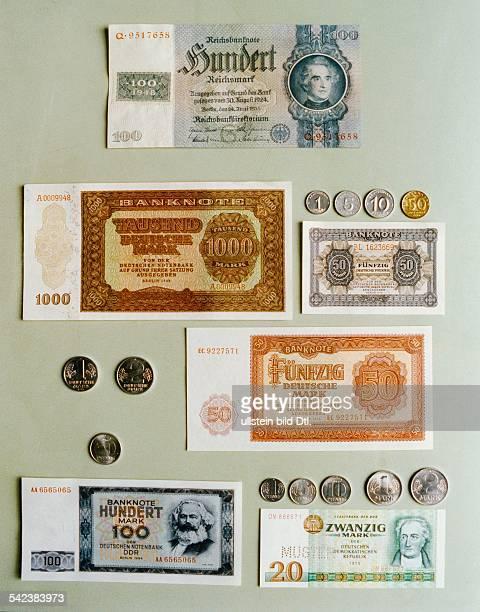 DDRGeld im Wandel der Zeiten Nachkriegsausgabe der bis 1948 gültigen'Reichsmark' 'Deutsche Mark' nach der Währungsreformvon 1948 nach dem...