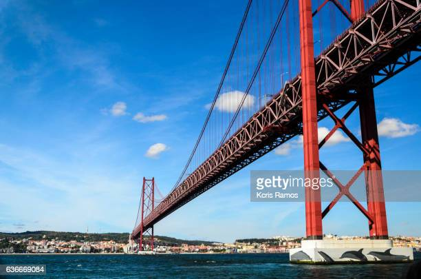 25 de Abril Bridge is a suspension bridge road-rail that connects the city of Lisbon to the city of Almada, in Portugal.
