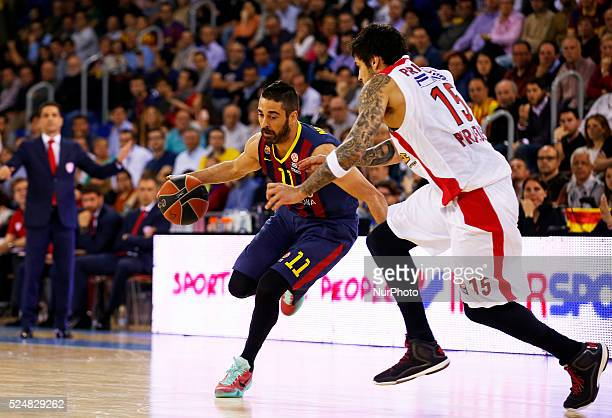 Juan Calos Navarro and Georgios Printezis in the second game of the quarterfinals of the Euroleague basketball match played at the Palau Blaugrana on...