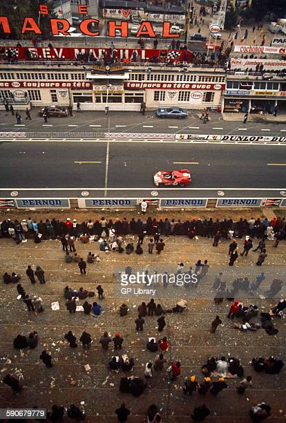 18 de Adamich and Vaccarella Alfa Romeo T33 on the start finish straight Le Mans on Sunday morning 16 June 1972