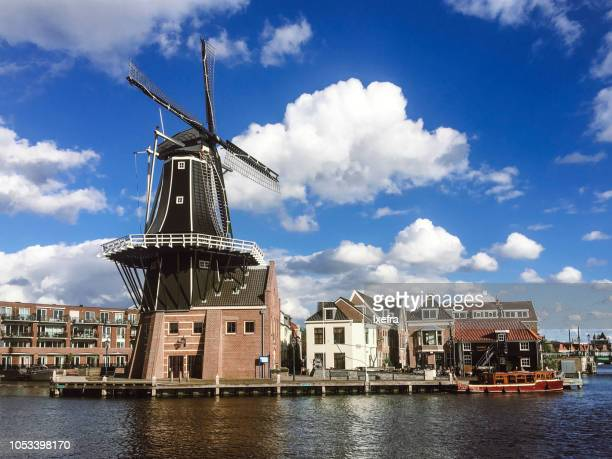 De Adriaan windmill and the Haarlem skyline, Netherlands