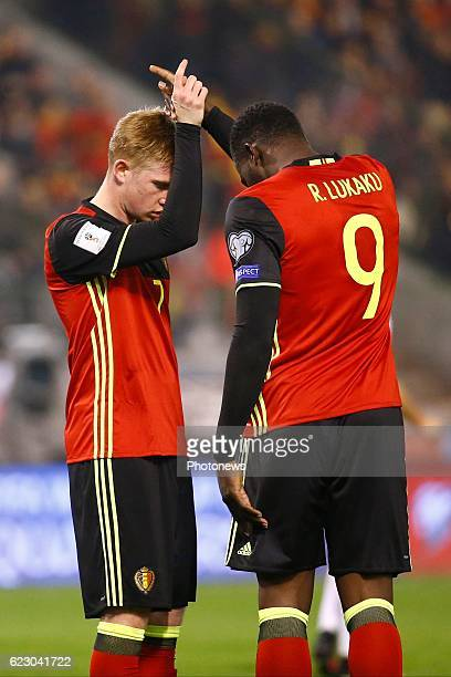 De Bruyne Kevin forward of Belgium - Romelu Lukaku forward of Belgium celebrates during the World Cup Qualifier Group H match between Belgium and...