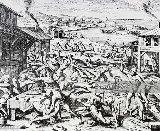 The Massacre of Jamestown 1634 From the Great Voyages Engraving