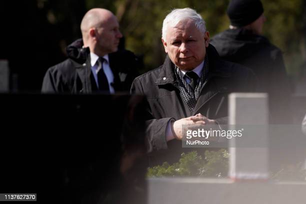 De facto Polish leader Jaroszlaw Kaczynski is seen visiting the Powazki military cemetery in Warsaw Poland on April 10 2019 Exactly nine years ago on...
