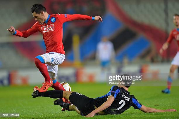 De Fauw Davy defender of Club Brugge battles for the ball with Callejon Jose forward of SSC Napoli during the UEFA Europa League Group D match...