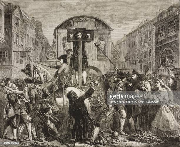 De Foe in the pillory, engraving from a painting by Eyre Crowe, illustration from the magazine The Illustrated London News, volume XLI, August 2,...