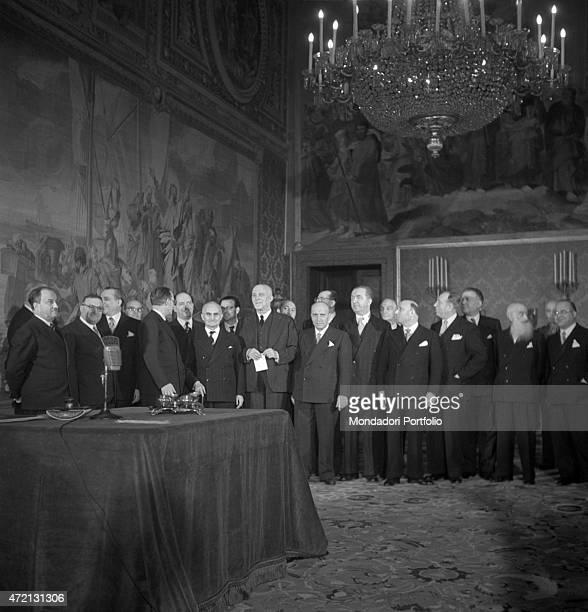 De Gasperi VI Cabinet posing for a group photo There are the President of the Italian Republic Luigi Einaudi Italian Prime Minister Alcide De Gasperi...