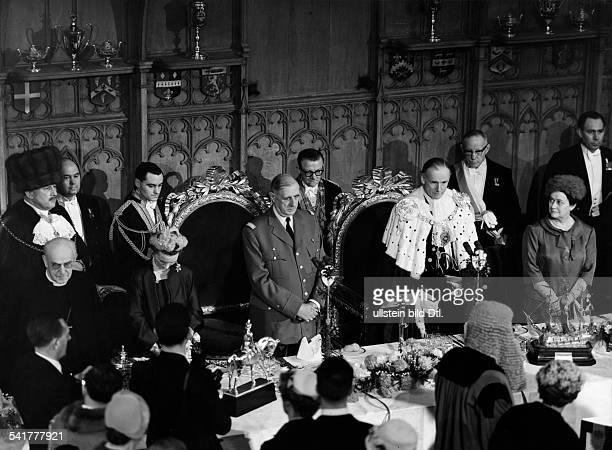 De Gaulle, Charles *22.11.1890-+Politiker, General, FrankreichStaatspraesident von 1959-1969- Staatsbesuch in Grossbritannien:Besuch in der Guildhall...