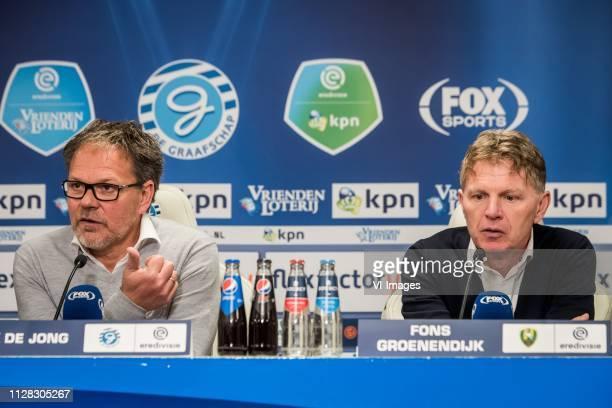 De Graafschap coach Henk de Jong ADO Den Haag coach Alfons Fons Groenendijk during the Dutch Eredivisie match between De Graafschap Doetinchem and...