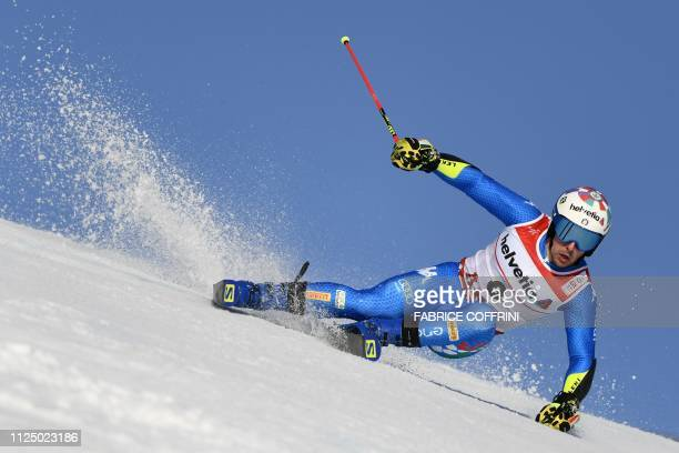 de Italy's Luca De aliprandini competes in the first run of the men's Giant slalom event at the 2019 FIS Alpine Ski World Championships at the...