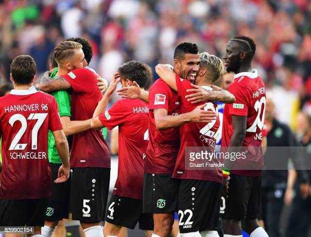 J De Jesus of Hannover 96 celebrates victory after the Bundesliga match between Hannover 96 and FC Schalke 04 at HDIArena on August 27 2017 in...