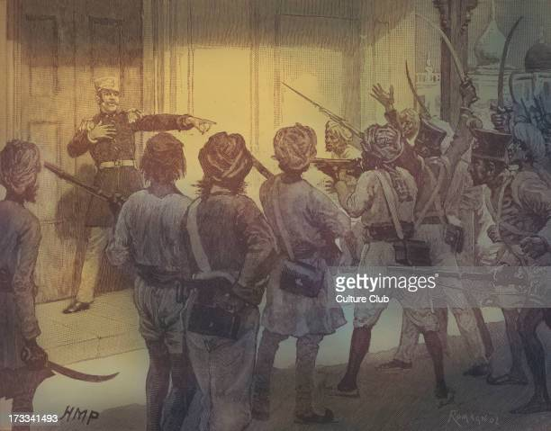 De Kantzow defending the treasury at Mynporree, India. Began as mutiny of sepoys on 10 May 1857, in the town of Meerut. Also known as 1857 War of...