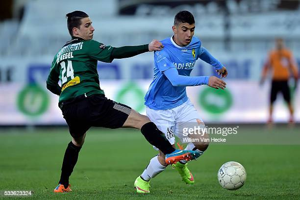 De Kegel Dennes of Cercle Brugge is to late for Seif Eldin Karim Hafez of K Lierse Sk during the Jupiler Pro League play off 3 match between Cercle...