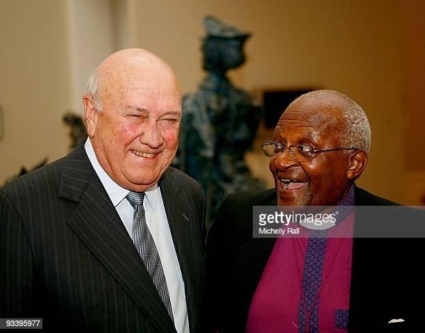 De Klerk and Archbishop Desmond Tutu talk at the South African National Gallery for the opening of the Peace Prize Exhibition Strengths and...