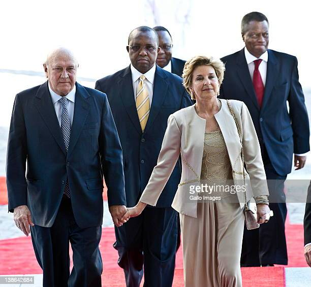 FW de Klerk and his wife Elita Georgiades arrive at the State of the Nation Address at the opening of Parliament in Cape Town South Africa on 9...