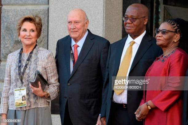 FW de Klerk Former State President of South Africa and his wife Elita de Klerk poses for a photograph with Amos Masondo National Council of Provinces...