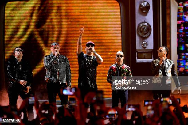 De La Ghetto Bad Bunny Wisin Arcangel and Ozuna perform on stage during Univision's 'Premios Juventud' 2017 Celebrates The Hottest Musical Artists...