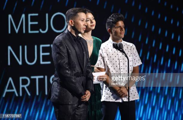 De La Ghetto Ángela Aguilar and Rudy Mancuso speak onstage during the 20th annual Latin GRAMMY Awards at MGM Grand Garden Arena on November 14 2019...