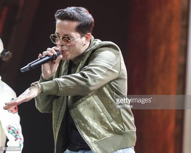 De la Ghetto rehearses on stage during Univision's 'Premios Juventud' 2017 Celebrates The Hottest Musical Artists And Young Latinos ChangeMakers Day...