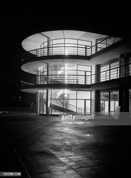 De La Warr Pavilion Bexhill on Sea East Sussex 1935 The Art Deco Pavilion at night with interior lighting photographed shortly after the building's...