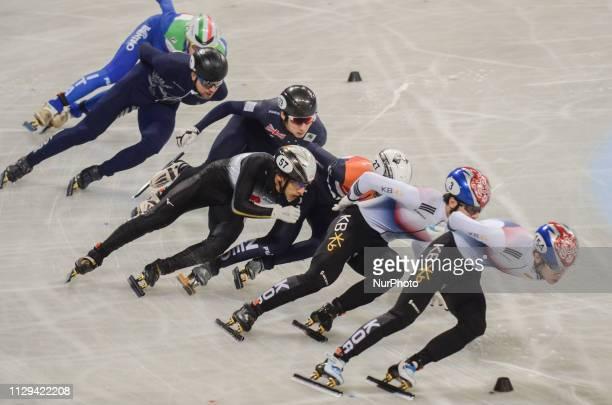 de LAAT Itzhak HWANG Dae Heon JUNG Hyun Woo BYKANOV VladislavDOTTI TommasoLEE June Seo WATANABE Keita during Semifinals of the men's 1500m relay...