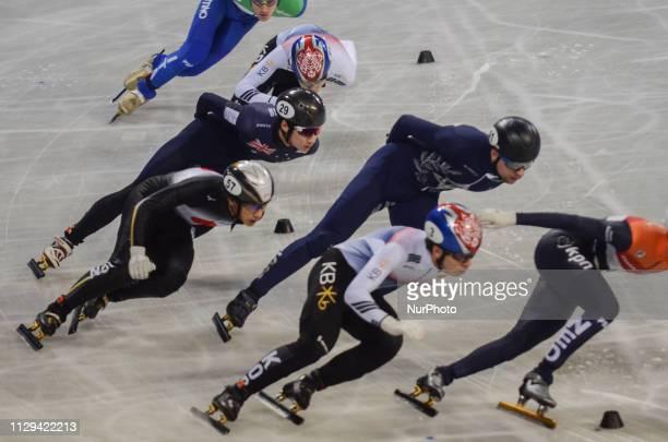 de LAAT ItzhakHWANG Dae HeonJUNG Hyun Woo BYKANOV VladislavDOTTI TommasoLEE June Seo WATANABE Keitaduring Semifinals of the men's 1500m relay during...