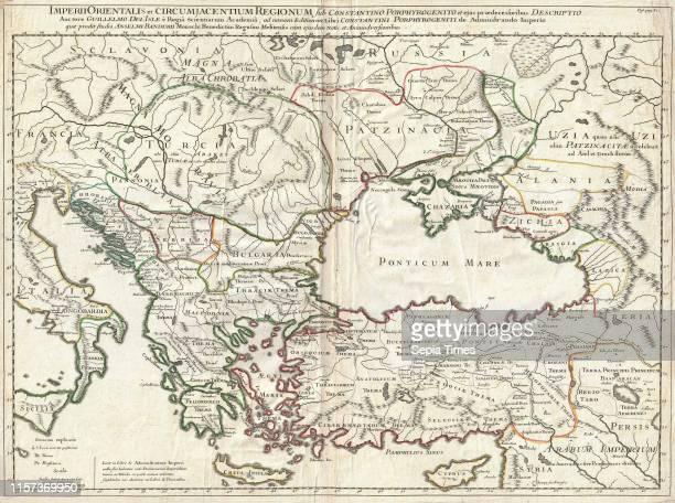 1715 De L'Isle Map of the Eastern Roman Empire under Constantine Asia Minor Black Sea Balkans