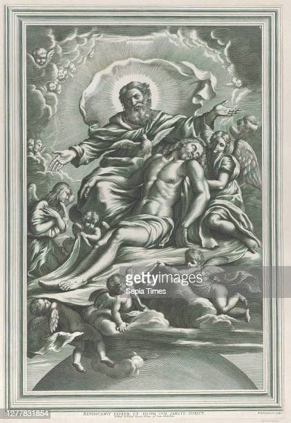 De Louvement, The Holy Trinity, with the dead Christ at center surrounded by angels, God the Father, and the Holy Spirit, F. De Louvement , After...