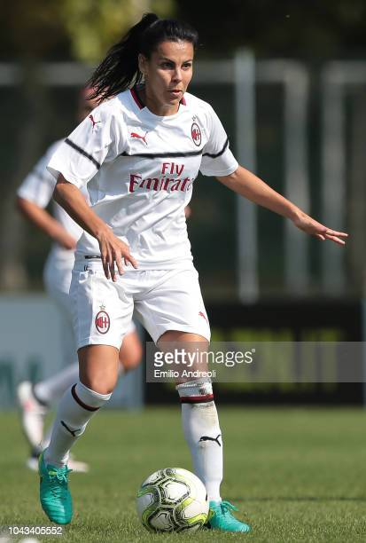 De Moraes Rosa Moreno Thaisa of AC Milan in action during the Serie A match between AC Milan Women and Fiorentina Women at Campo Sportivo Vismara on...