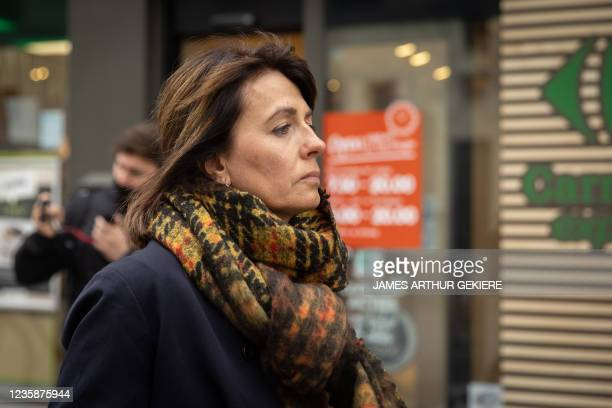 De Pauw's wife Ines De Vos pictured during a session of the Criminal Court in Mechelen in the trial of television producer Bart De Pauw, accused of...