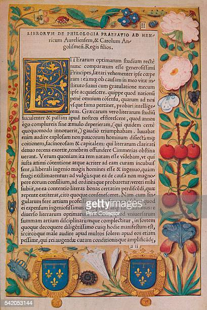 De Philologia' c1530 From The Art of the French Book edited by André Lejard [Paul Elek London 1947] Artist Guillaume Bude