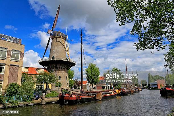 De Roode Leeuw corn windmill, Gouda, Netherlands