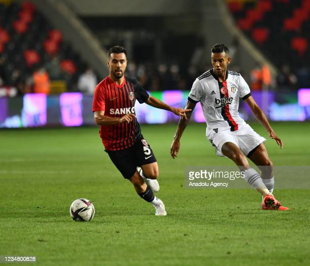 De Souza of Besiktas in action against Furkan Soyalp of Gaziantep during Turkish Super Lig soccer match between Besiktas and Gaziantep at Kalyon...