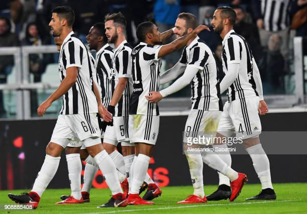 De Suoza Douglas Costa of Juventus celebrates after scoring the opening goal during the Serie A match between Juventus and Genoa CFC on January 22...