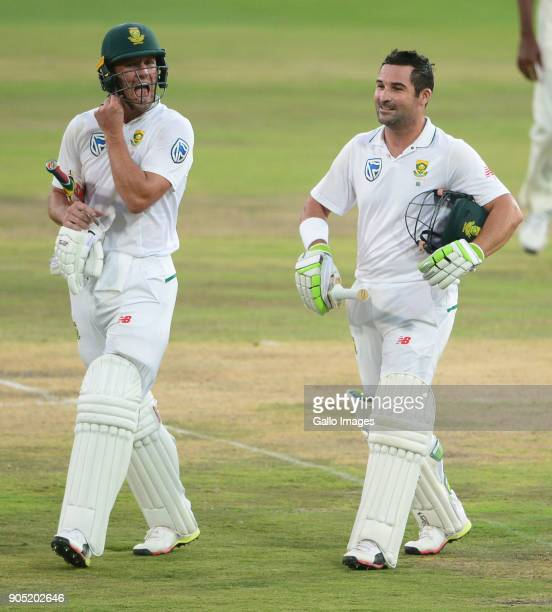 AB de Villiers and Dean Elgar of the Proteas walk off due to bad light stopping play during day 3 of the 2nd Sunfoil Test match between South Africa...