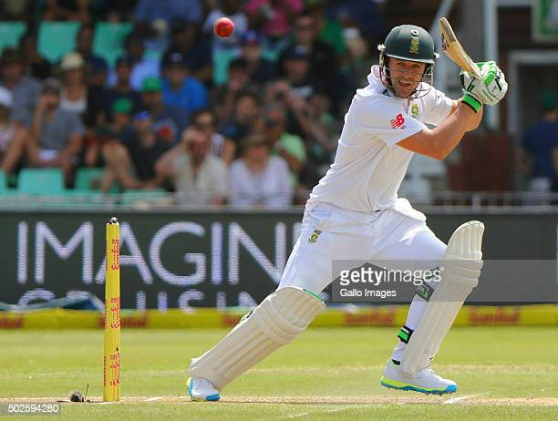 AB de Villiers bats during the day 2 of the 1st test match between South Africa and England at Sahara Stadium Kingsmead on December 27 2015 in Durban...
