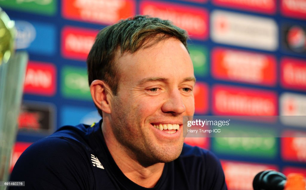 AB De Villiers, Captain of South Africa looks on during the ICC Champions Trophy - South Africa Press Conference at The Oval on June 2, 2017 in London, England.