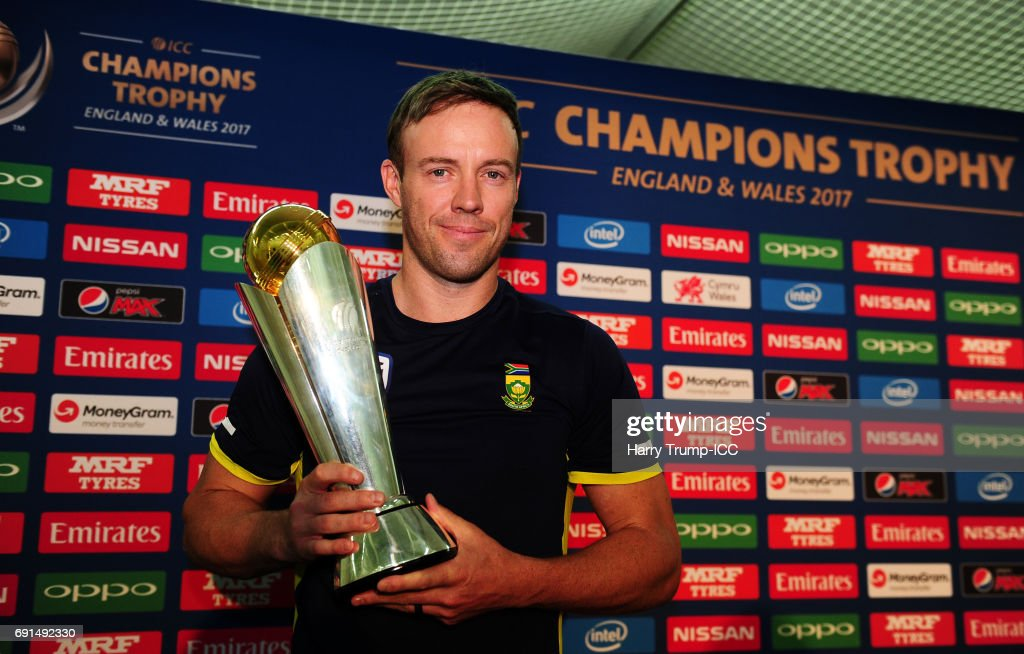 AB De Villiers, Captain of South Africa poses with the trophy during the ICC Champions Trophy - South Africa Press Conference at The Oval on June 2, 2017 in London, England.