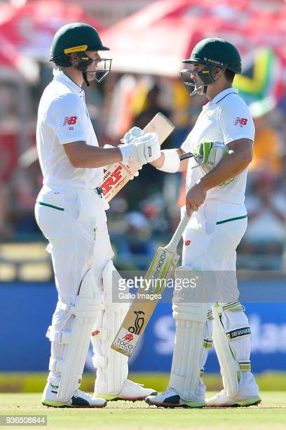 AB de Villiers celebrate with Dean Elgar of South Africa after scoring 50 runs during day 1 of the 3rd Sunfoil Test match between South Africa and...