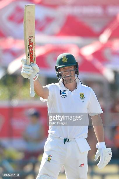 AB de Villiers celebrates after scoring 50 runs during day 1 of the 3rd Sunfoil Test match between South Africa and Australia at PPC Newlands on...